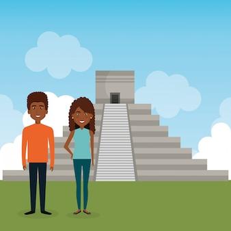 Junges paar in der landschaft avatare zeichen