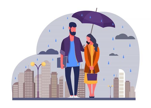 Junges paar in der regenvektorillustration