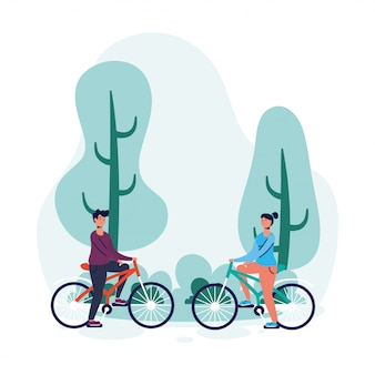 Junges paar in fahrradcharakteren