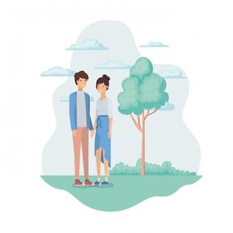Junges paar in landschaft mit bäumen und pflanzen