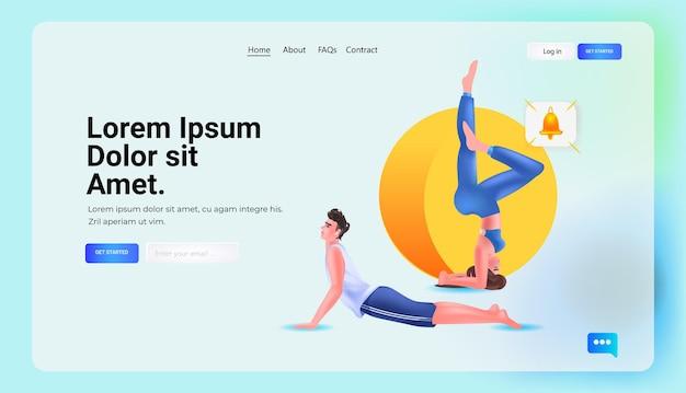 Junges paar macht yoga-übungen entspannung gesundes lifestyle-fitness-workout-konzept