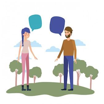 Junges paar mit landschafts-avatar-charakter