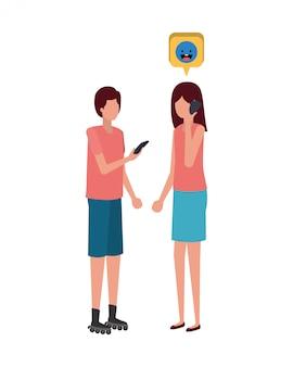 Junges paar mit sprechblase avatar charakter