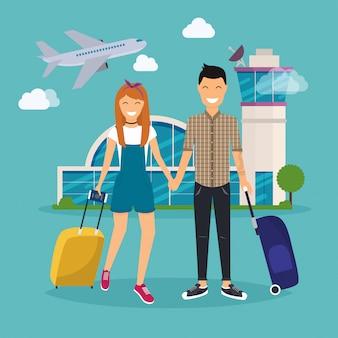 Junges paar reist mit reisetasche, hält pass und tickets. flughafen. reisen und tourismus. modernes illustrationskonzept des flachen entwurfs.