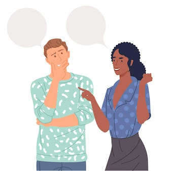 Junges paar spricht miteinander