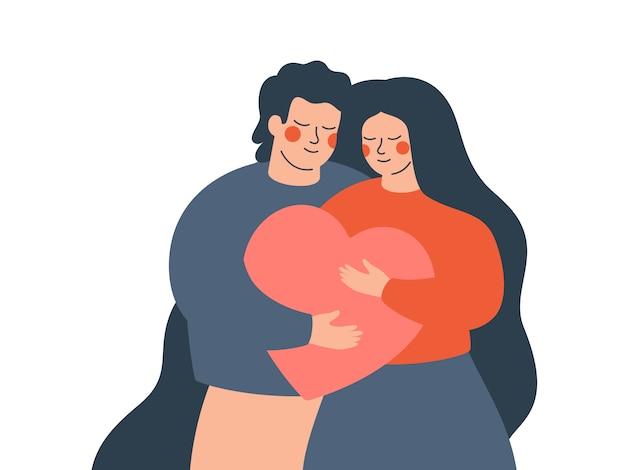 Junges paar umarmt sich mit liebe und sorgfalt.