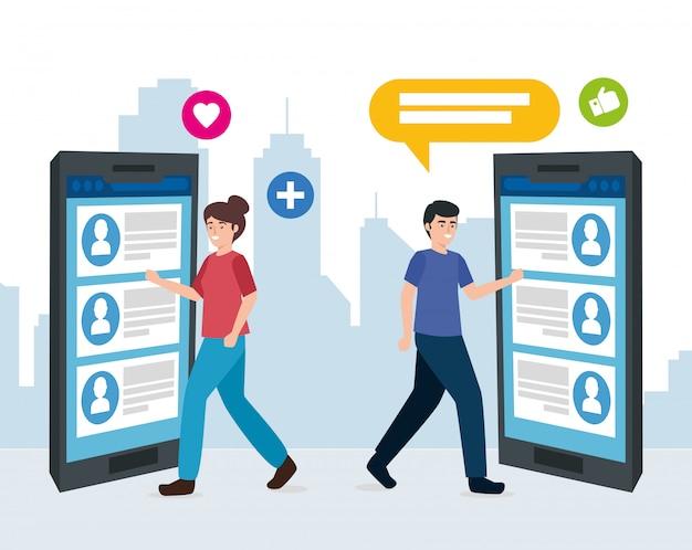 Junges paar und smartphone mit social media