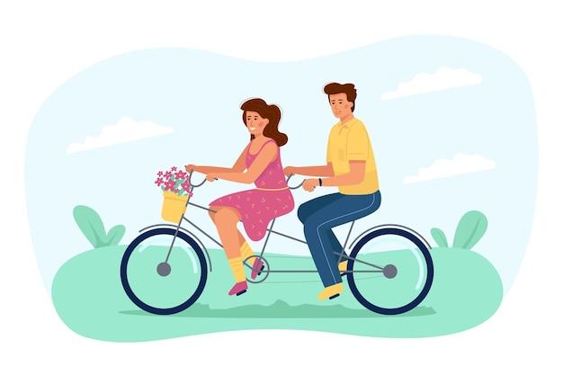 Junges paar verliebt in fahrradfahren