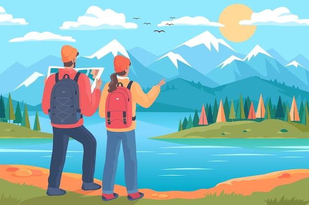 Junges paar wanderer mit rucksäcken, die in die berge gehen