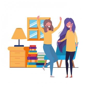 Junges paartanzen im wohnzimmercharakter