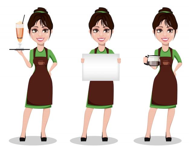 Junges schönes weibliches barista in der uniform