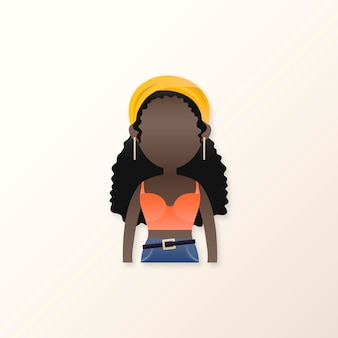 Junges schwarzes mädchen-avatar