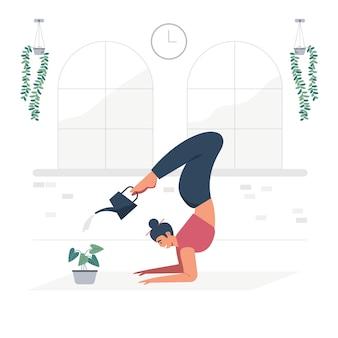 Junges yoga-mädchen der vektorillustrationskarikatur, das den baum wässert.