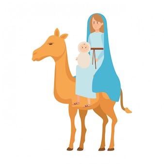 Jungfrau maria mit jesus-baby im kamel