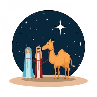 Jungfrau maria und heiliger joseph mit kamel