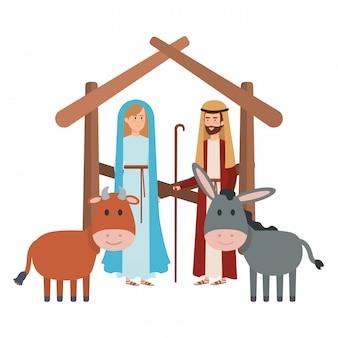 Jungfrau maria und heiliger joseph mit tieren