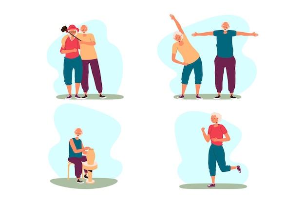 Junggebliebene machen sportliche aktivitäten