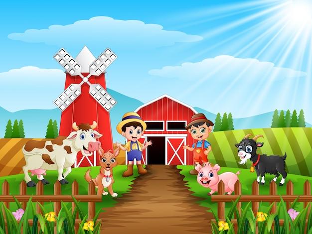 Junglandwirte mit tieren auf dem bauernhof