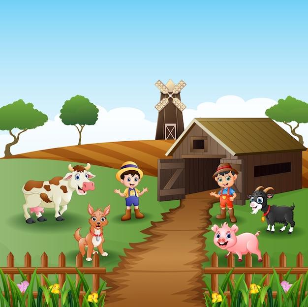 Junglandwirte mit tieren vor käfig