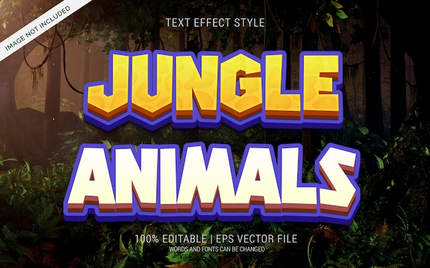 Jungle animals text effekte stil