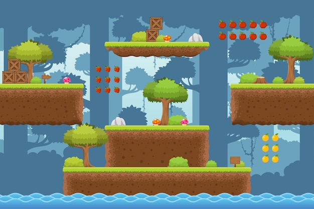 Jungle platformer game tileset