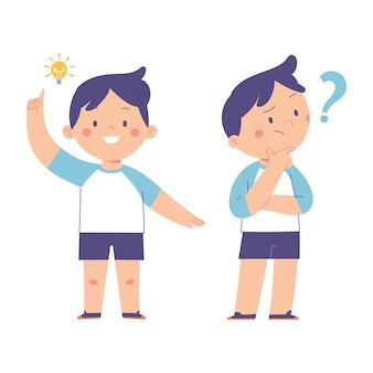 Jungs posieren verwirrt und andere posieren bekommen ideen