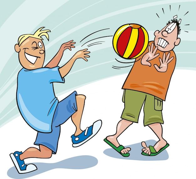 Jungs spielen ball