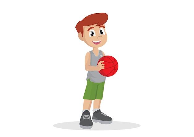 Jungs spielen basketball.