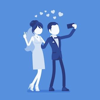 Jungvermählten, die selfie per telefonillustration nehmen Premium Vektoren
