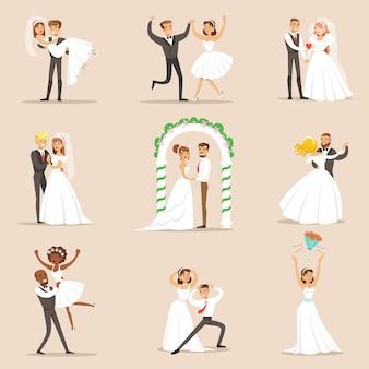 Jungvermählten posieren und tanzen auf der hochzeitsfeier satz von szenen
