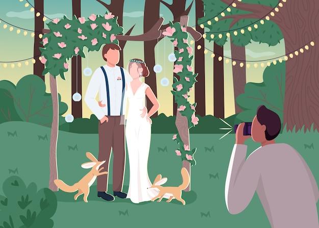 Jungvermähltenpaar in flacher farbillustration der rustikalen photozone
