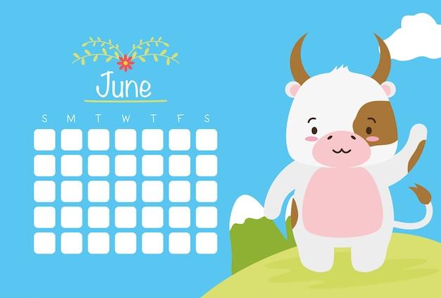 Juni-kalender mit niedlicher kuh über blauer, flacher art