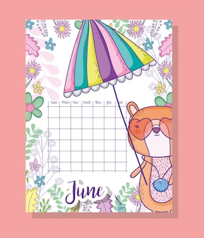 Juni-kalenderinformation mit eichhörnchen und pflanzen