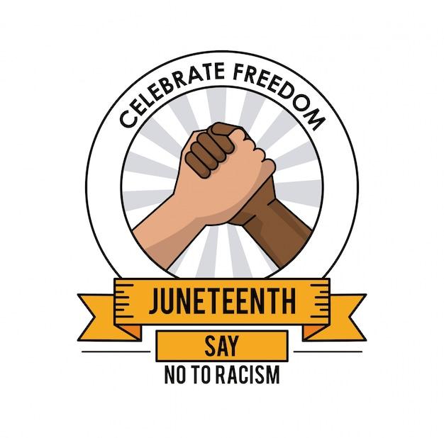 Juni-tag feiern freiheitshändedruck nein zu rassismus