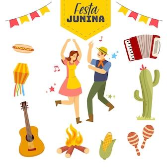 Junina festivalkonzept mit verschiedenen musikinstrumenten und anderen sehr schönen
