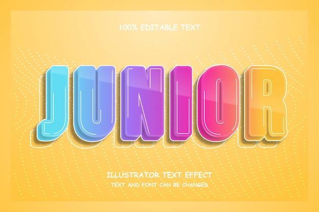 Junior, 3d bearbeitbarer texteffekt im modernen comic-stil