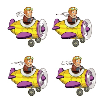 Junior pilot fliegende flugzeug cartoon animation sprite