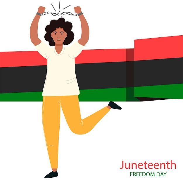 Juniteenth freedom day afroamerikanische frauen brechen ketten tag der befreiung von der sklaverei juni unabhängigkeitstag afroamerikanischer unabhängigkeitstag