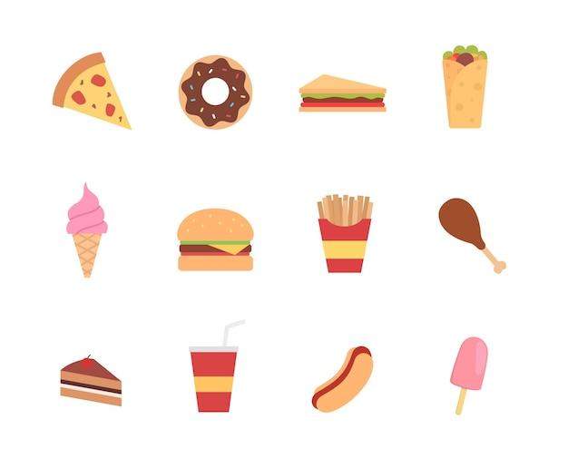 Junk-food-ikone im flachen stil design