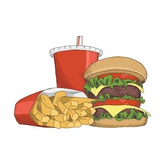 Junk food im vintage handgezeichneten stil. sofort einsatzbereit.