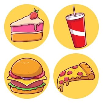 Junk food vektor illustration collection pack vektor-illustration mit isoliertem hintergrund