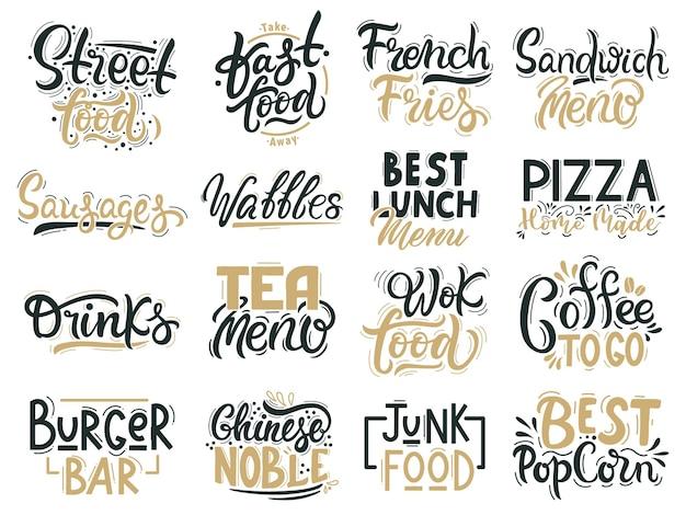 Junk-food-zitate. fast food, junk und street food schriftzug, getränke und handgezeichnete abzeichen