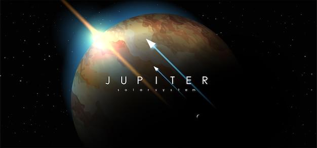 Jupiter auf weltraumhintergrund