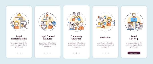 Juristische dienstleistungskategorien onboarding des bildschirms der mobilen app-seite mit konzepten