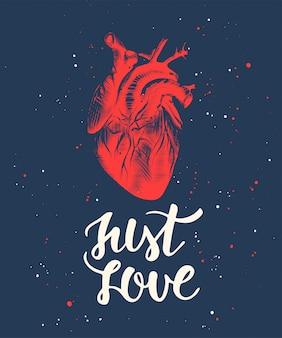 Just love mit skizze eines gravierten anatomischen herzens