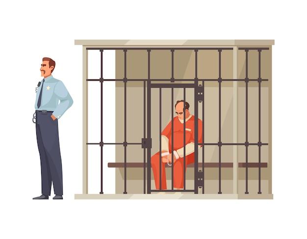 Justiz und gerichtsverfahren mit gefangener im käfig