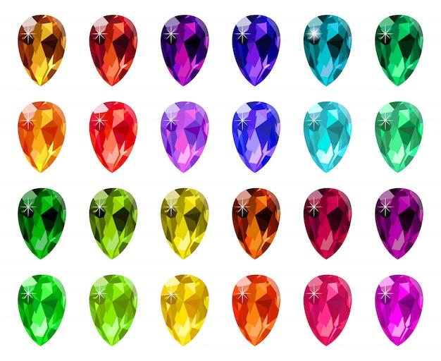 Juwel diamantkristalle. edelstein diamant edelstein, spiel schmuck luxusstein, kostbare strass symbole symbole gesetzt. edelsteinschmuck, kristallstein, juwel und saphirikone für spielillustration