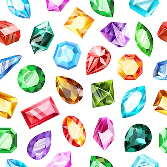 Juwel edelsteinmuster. kristall edelstein, juwelen spiel edelstein, luxus brillant, saphir und rubin edelsteine nahtlosen hintergrund. edelsteinschmuck, brillanter edelstein, diamantschatz