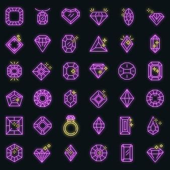 Juwel-icons gesetzt. umrisse von juwelenvektorsymbolen neonfarbe auf schwarz