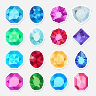 Juwelen oder edelsteinaufkleber eingestellt